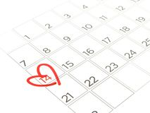 Close-up red heart mark around 14th on February page of calendar isolated on white background. Valentine Day dating concept royalty free illustration