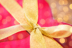 Close up of red heart shaped gift box with bow Royalty Free Stock Photos