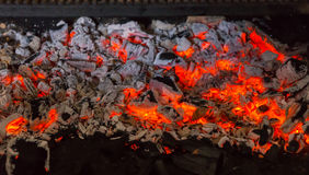 Close Up of Red Hot Coals in Barbecue Grill Royalty Free Stock Photo