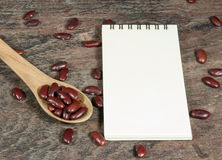 Close-up red Kidney Bean and notebook. Close up red Kidney Bean in spoon and notebook on wooden table Royalty Free Stock Images