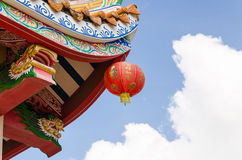 Close up red lantern and roof chinese old temple Stock Photo