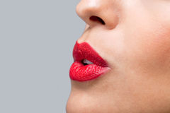 Close up red lips blowing a kiss Stock Photography