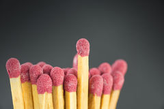 Close-up of a red matches. Red matches close-up shoot black background Royalty Free Stock Image