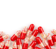 Close up of red medical capsules Stock Image