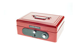 Close up red metal cash box isolated on white Royalty Free Stock Photos