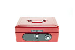 Close up red metal cash box isolated on white Royalty Free Stock Photo