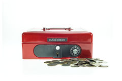 Close up red metal cash box isolated on white Royalty Free Stock Image