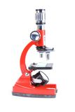 Close up of a red microscope Royalty Free Stock Photography