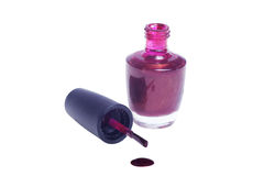 Close up of red nail polish vial Royalty Free Stock Photos