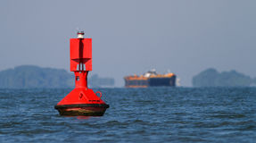 Close up of a red navigational buoy Royalty Free Stock Image