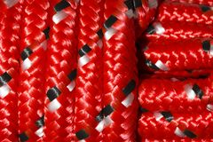 Close up of red nylon rope royalty free illustration