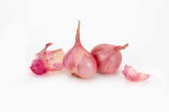 Close up red onion or shallots with shell Stock Photo