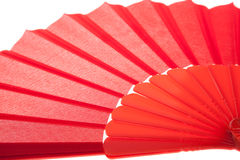 Close up of Red Open Hand Fan, Isolated on a White Royalty Free Stock Image