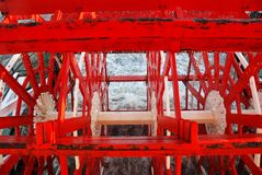 Paddle wheel. Close-up on red paddle wheel of mississippi steamboat royalty free stock photo