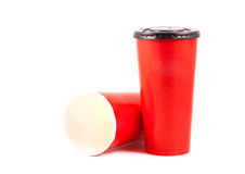 Close up red paper cup. On white background Stock Photos