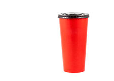 Close up red paper cup. On white background Royalty Free Stock Image