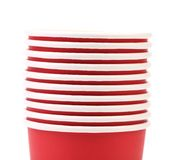 Close up red plastic cups Royalty Free Stock Photo