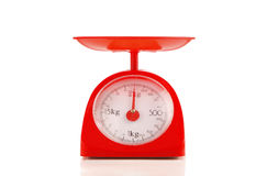 Close up red plastic kilograms scale Stock Photography