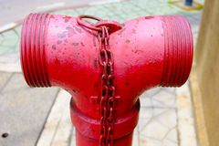 Close up of red Plumbing Fire,pumps for fire extinguishers when. A fire in a building Royalty Free Stock Photos