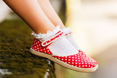 Close up of red polka dot shoes Stock Photos