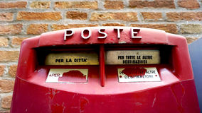 Close up red postal box public Stock Photography