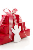 Close up of red present box for christmad with red checked ribbo Royalty Free Stock Image