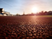 Close up red racetrack ground on outdoor stadium Royalty Free Stock Image