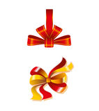 Close Up Of A Red Ribbon Bow Gift Isolated Royalty Free Stock Image