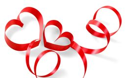 Close up of  red ribbon on white background. Red ribbon color white background element design Stock Images