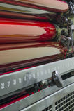 Close up of red rollers on print press machine Royalty Free Stock Photography
