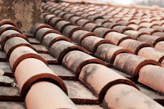 Close up of red roof tiles. Stock Image