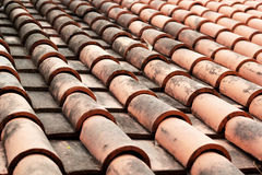Close up of red roof tiles. Royalty Free Stock Image