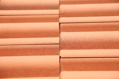 Close up of red roof tiles. Royalty Free Stock Photos
