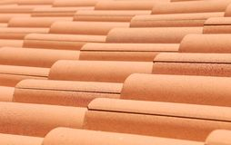 Close up of red roof tiles. Royalty Free Stock Images