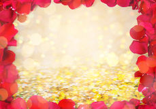 Close up of red rose petals blank frame Royalty Free Stock Photos