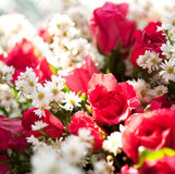 Close up of red roses bouquet flowers. Stock Photo