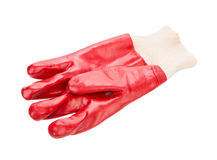 Close up of red rubber glove. Stock Photos