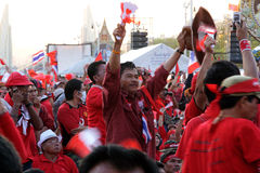 Close-up Red shirt protester are protest against t Stock Images