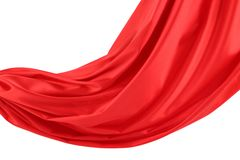 Close up of red silk fabric background. Stock Photo