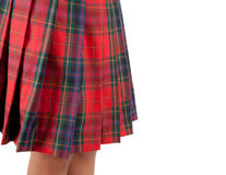 Close up of a red skirt Scottish. Royalty Free Stock Photography