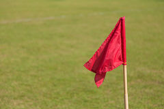 Close up of red soccer corner flag Royalty Free Stock Photos