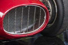 Close up of a red sports car vintage. Close up the front of a red sports car vintage Stock Photography