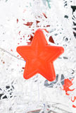Close up red star hanging with snowflake ,Holiday concept Royalty Free Stock Images