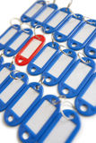 Close-up of red surrounded with blue key ring tags Royalty Free Stock Photography