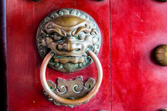 Close-up of red temple door in chinatown Royalty Free Stock Photography