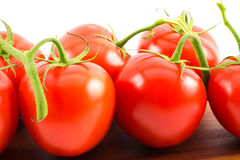 Close up of red tomatoes on a wooden surface and white background.  royalty free stock images