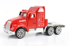 Close-up of a red toy truck isolated Royalty Free Stock Images