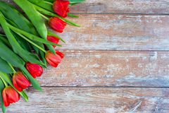 Close up of red tulips on wooden background Royalty Free Stock Photos
