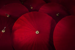 Close up of red umbrellas. Stock Photo