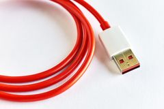 Close-up of red USB cable Stock Photography